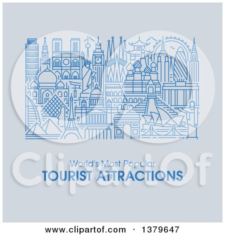 Clipart of the Worlds Most Popular Tourist Attractions in Flat Design, over Gray, with Text - Royalty Free Vector Illustration by elena