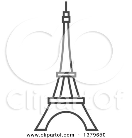 Clipart of a Grayscale Eiffel Tower - Royalty Free Vector Illustration by elena