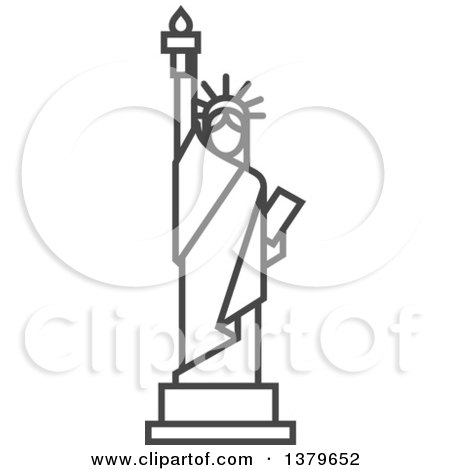 Clipart of a Grayscale Statue of Liberty - Royalty Free Vector Illustration by elena