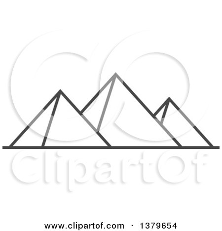 Clipart of Grayscale Egyptian Pyramids - Royalty Free Vector Illustration by elena
