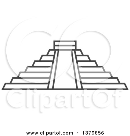Clipart of a Grayscale Chichen Itza Pyramid - Royalty Free Vector Illustration by elena