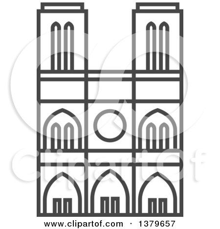 Clipart of a Grayscale Building - Royalty Free Vector Illustration by elena