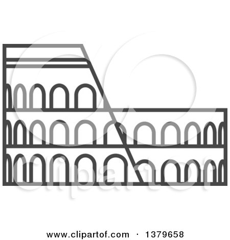 Clipart of a Grayscale Roman Coliseum - Royalty Free Vector Illustration by elena
