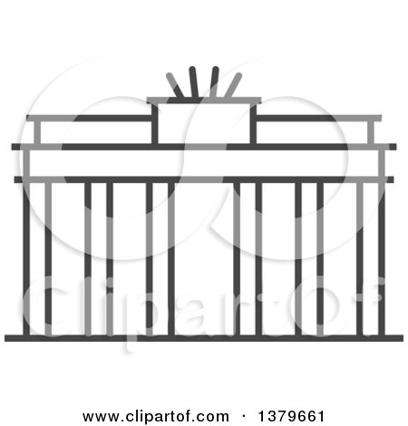 Clipart of a Grayscale Brandenburg Gate - Royalty Free Vector Illustration by elena