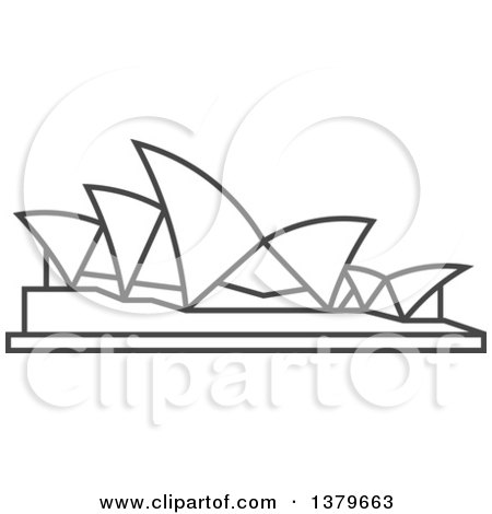 Clipart of a Grayscale Sydney Opera House - Royalty Free Vector Illustration by elena