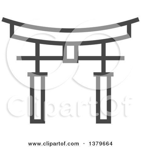 Clipart of a Grayscale Torii Gate - Royalty Free Vector Illustration by elena