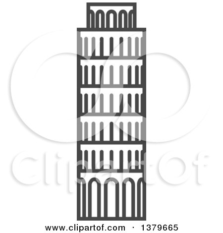 Clipart of a Grayscale Tower of Pisa - Royalty Free Vector Illustration by elena