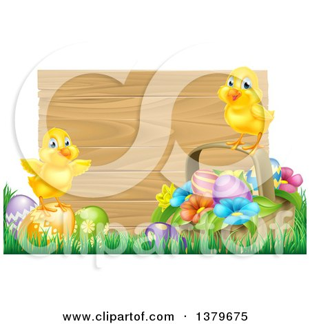 Clipart of Cute Yellow Chicks on Easter Eggs and a Basket in the Grass, over a Blank Wood Sign - Royalty Free Vector Illustration by AtStockIllustration