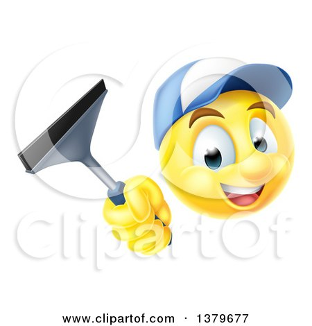 Clipart of a 3d Yellow Male Smiley Emoji Emoticon Window Washer Holding a Squeegee - Royalty Free Vector Illustration by AtStockIllustration