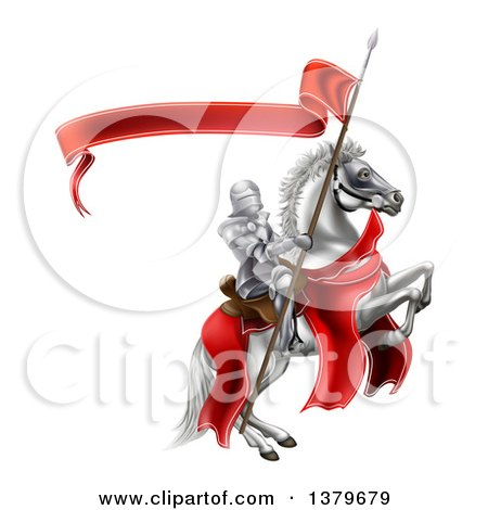 Clipart of a 3d Fully Armored Medieval Knight on a Rearing White Horse, Holding a Spear Flag - Royalty Free Vector Illustration by AtStockIllustration