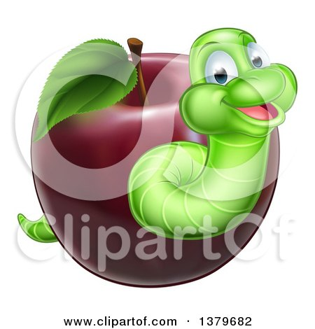 Clipart of a Happy Green Worm Emerging from a Red Apple - Royalty Free Vector Illustration by AtStockIllustration