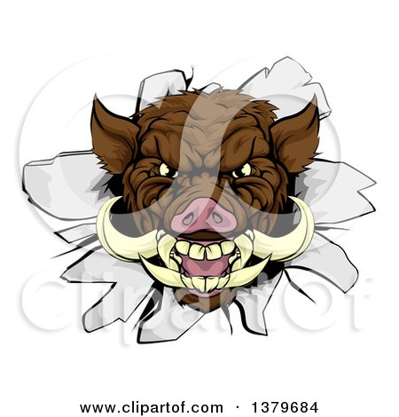 Clipart of a Brown Boar Head Breaking Through a Wall - Royalty Free Vector Illustration by AtStockIllustration