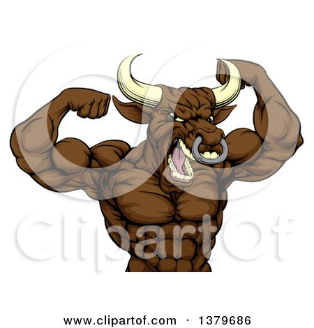 Clipart of a Muscular Brown Bull Man Mascot Flexing, from the Waist up - Royalty Free Vector Illustration by AtStockIllustration