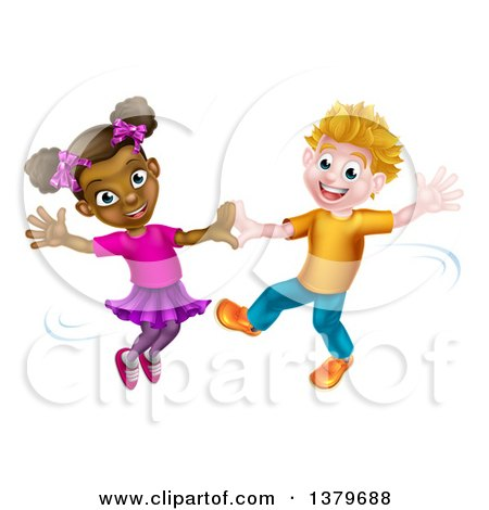 Clipart of a Happy White Boy and Black Girl Dancing - Royalty Free Vector Illustration by AtStockIllustration
