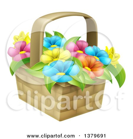 Clipart of a Basket of Colorful Flowers - Royalty Free Vector Illustration by AtStockIllustration