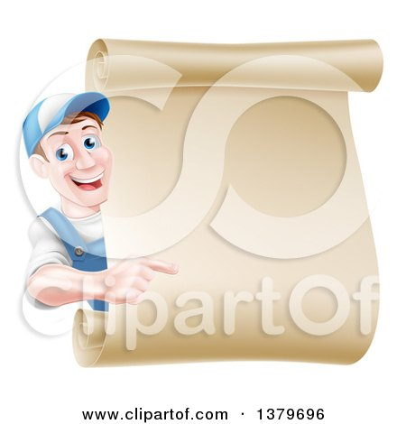 Clipart of a Happy Brunette Middle Aged Caucasian Mechanic Man in Blue, Pointing Around a Blank Scroll Sign - Royalty Free Vector Illustration by AtStockIllustration