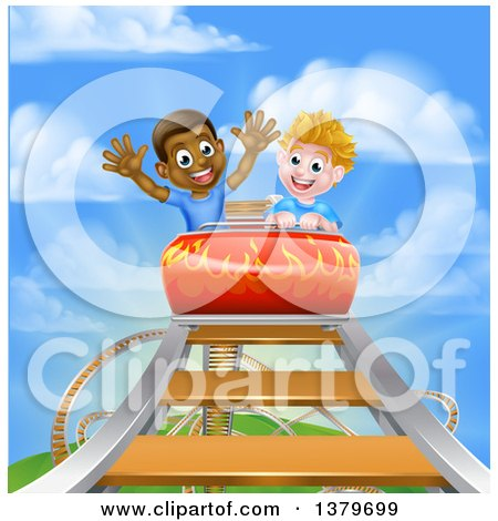 Clipart of Happy White and Black Boys at the Top of a Roller Coaster Ride, Against a Blue Sky with Clouds - Royalty Free Vector Illustration by AtStockIllustration