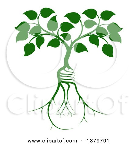 Clipart of a Leafy Heart Shaped Tree Growing from Light Bulb Shaped Roots - Royalty Free Vector Illustration by AtStockIllustration