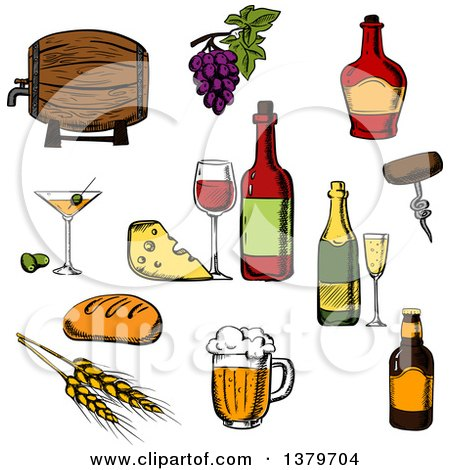 Clipart of Sketched Beer, Wine, Cheese and Beer - Royalty Free Vector Illustration by Vector Tradition SM