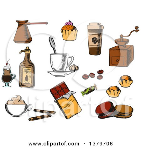 Clipart of Sketched Coffee Items - Royalty Free Vector Illustration by Vector Tradition SM
