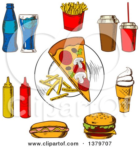 Clipart of Sketched Fast Foods - Royalty Free Vector Illustration by Vector Tradition SM