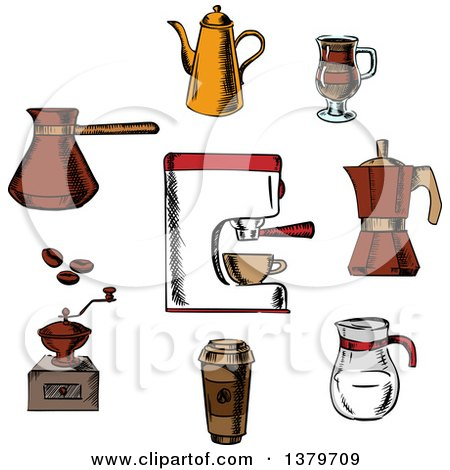 Clipart of a Sketched Circle of Coffee Elements - Royalty Free Vector Illustration by Vector Tradition SM