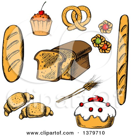 Clipart of Sketched Bread and Pastries - Royalty Free Vector Illustration by Vector Tradition SM