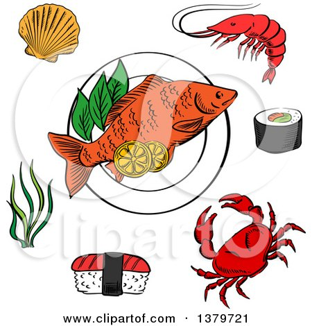 Clipart of Sketched Sea Food - Royalty Free Vector Illustration by Vector Tradition SM