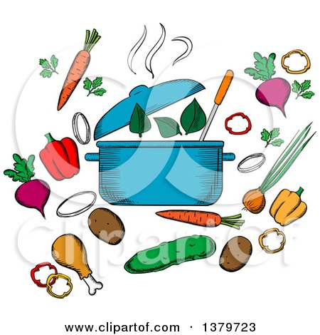 Clipart of a Sketched Soup Pot and Ingredients - Royalty Free Vector Illustration by Vector Tradition SM