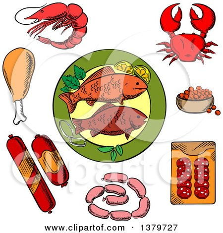 Clipart of Sketched Seafood and Meat - Royalty Free Vector Illustration by Vector Tradition SM