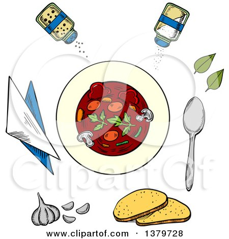 Clipart of a Sketched Bowl of Soup and Ingredients - Royalty Free Vector Illustration by Vector Tradition SM