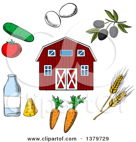 Clipart of a Sketched Barn and Agriculture Items - Royalty Free Vector Illustration by Vector Tradition SM