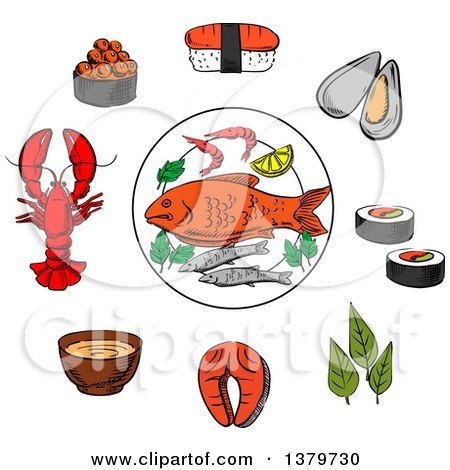 Clipart of Sketched Seafood - Royalty Free Vector Illustration by Vector Tradition SM