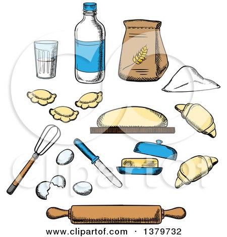 Clipart of Sketched Baking Ingredients - Royalty Free Vector Illustration by Vector Tradition SM