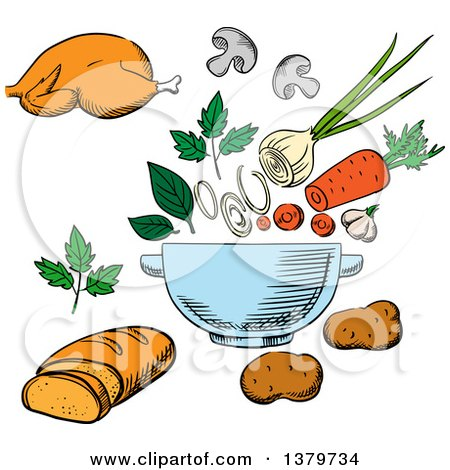 Clipart of a Sketched Salad and Ingredients - Royalty Free Vector Illustration by Vector Tradition SM