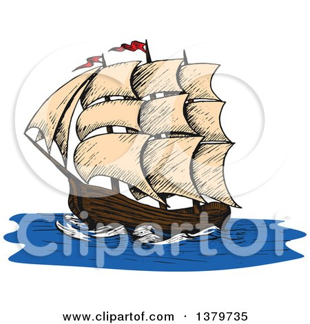 Clipart of a Sketched Ship - Royalty Free Vector Illustration by Vector Tradition SM
