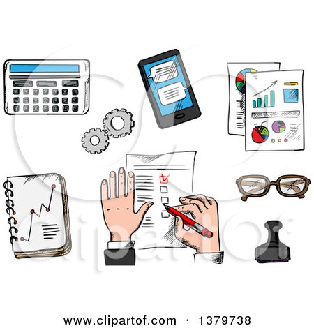 Clipart of a Sketched Business Man and Elements - Royalty Free Vector Illustration by Vector Tradition SM