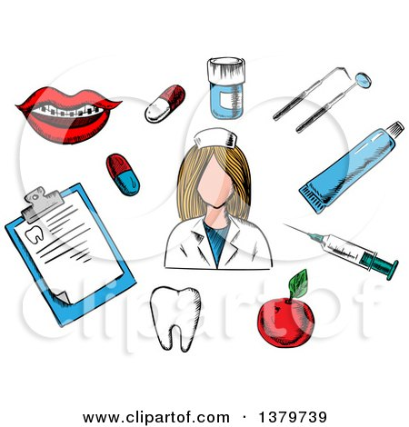Clipart of a Sketched Nurse and Health Care Elements - Royalty Free Vector Illustration by Vector Tradition SM