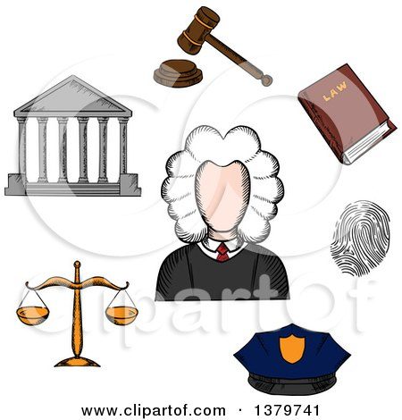 Clipart of a Sketched Judge and Icons - Royalty Free Vector Illustration by Vector Tradition SM
