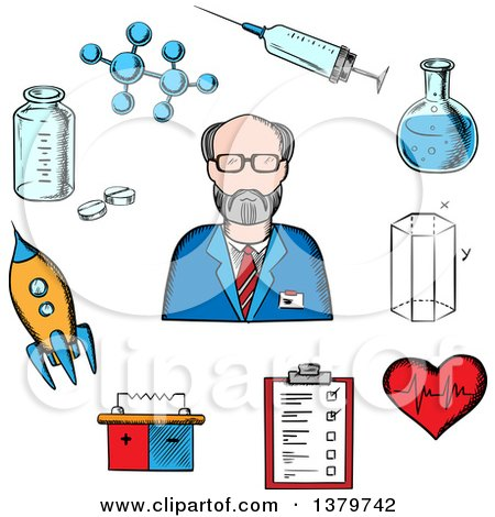 Clipart of a Sketched Scientist and Icons - Royalty Free Vector Illustration by Vector Tradition SM