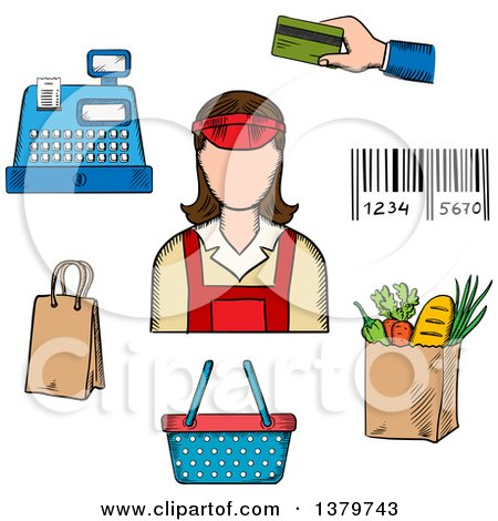 Clipart of a Sketched Store Clerk and Grocery Items - Royalty Free Vector Illustration by Vector Tradition SM