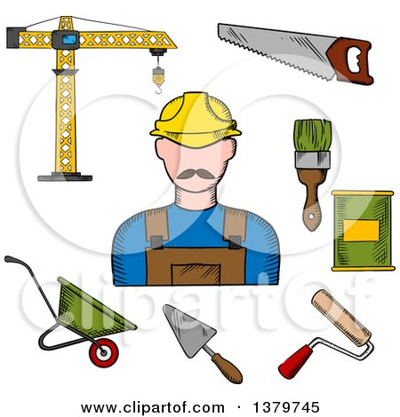 Clipart of a Sketched Construction Worker and Tools - Royalty Free Vector Illustration by Vector Tradition SM