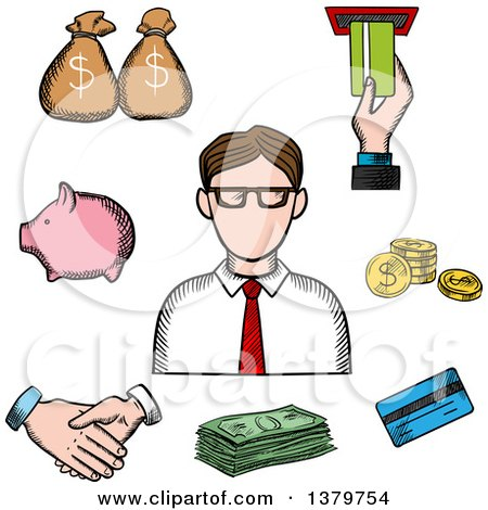 Clipart of a Sketched Businessman and Money Icons - Royalty Free Vector Illustration by Vector Tradition SM