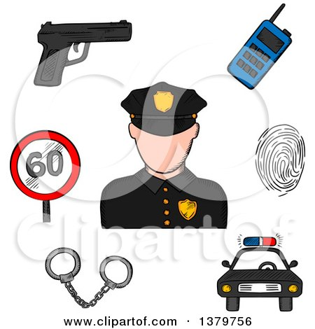 Clipart of a Sketched Police Officer and Icons - Royalty Free Vector Illustration by Vector Tradition SM