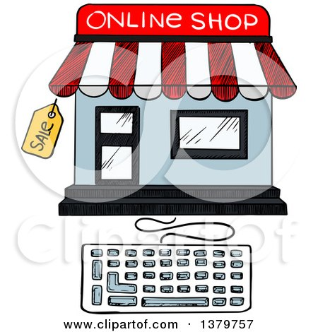 Clipart of a Sketched Online Shop and Keyboard - Royalty Free Vector Illustration by Vector Tradition SM