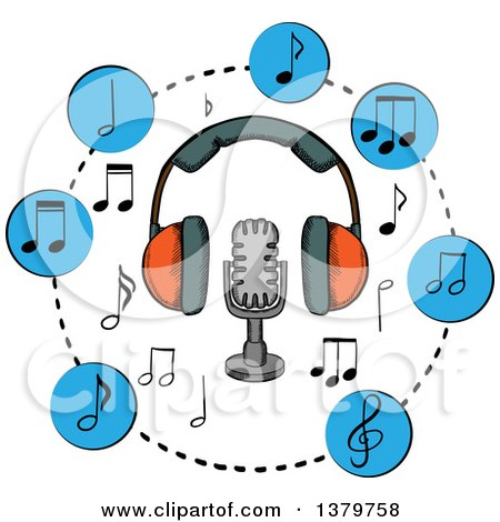 Clipart of a Sketched Microphone, Headphones and Music Notes - Royalty Free Vector Illustration by Vector Tradition SM