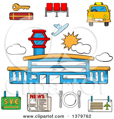 Clipart of a Sketched Airport and Travel Icons - Royalty Free Vector Illustration by Vector Tradition SM