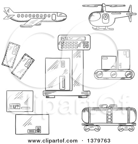 Clipart of Black and White Sketched Freight and Shipping Icons - Royalty Free Vector Illustration by Vector Tradition SM