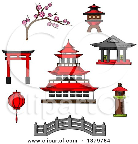 Clipart Of Sketched Japanese Icons