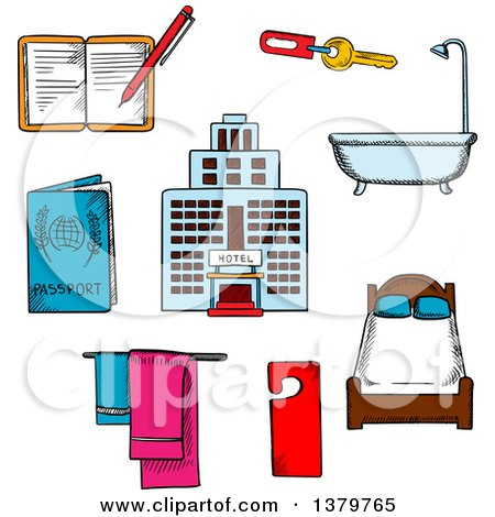 Clipart of Sketched Hotel and Travel Icons - Royalty Free Vector Illustration by Vector Tradition SM